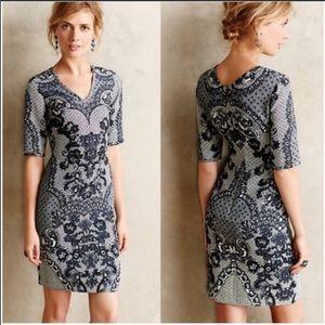 Anthropologie Barashi lace look dress size 6